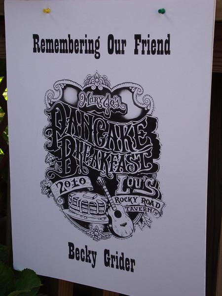 Mary Jo's Pancake Breakfast remembers Becky. July 17, 2010.