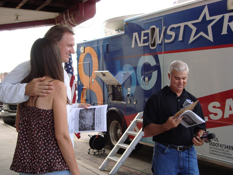Ellis and Monica Taylor preparing to be interviewed by Frank. July 16, 2010.
