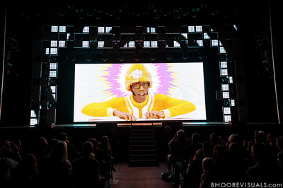 """DJ Lance Rock appears on screen at the beginning of Yo Gabba Gabba! Live! """"There's A Party In My City"""" at St. Pete Times Forum on October 30, 2010 in Tampa, Florida"""