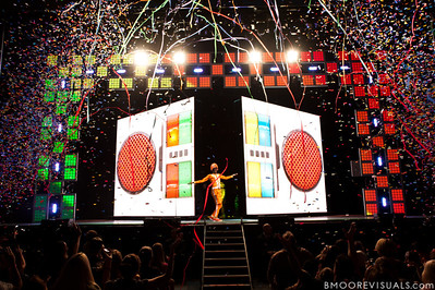"""DJ Lance Rock comes out on stage to start the Yo Gabba Gabba! Live! """"There's A Party In My City"""" show at St. Pete Times Forum on October 30, 2010 in Tampa, Florida"""