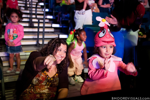 """A young fan dressed as Foofa enjoys Yo Gabba Gabba! Live! """"There's A Party In My City"""" at St. Pete Times Forum on October 30, 2010 in Tampa, Florida"""