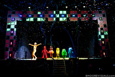 """DJ Lance Rock, Muno, Foofa, Plex, Brobee, and Toodee take the stage as confetti and streamers shot into the air at the beginning of Yo Gabba Gabba! Live! """"There's A Party In My City"""" at St. Pete Times Forum on October 30, 2010 in Tampa, Florida"""
