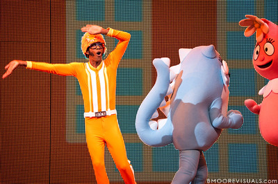 """DJ Lance Rock dances alongside Toodee and Foofa during Yo Gabba Gabba! Live! """"There's A Party In My City"""" at St. Pete Times Forum on October 30, 2010 in Tampa, Florida"""