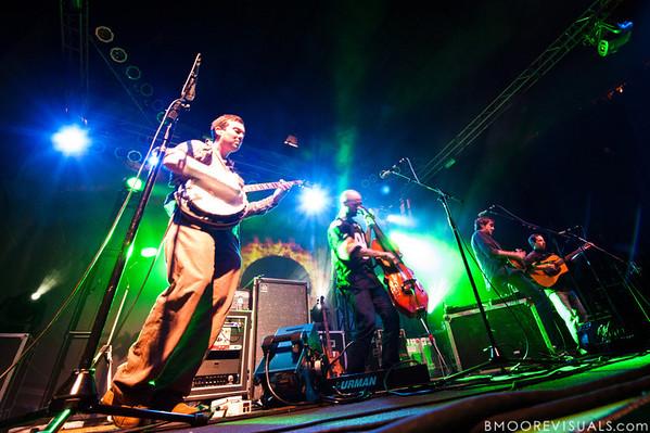 Dave Johnston, Ben Kaufmann, Jeff Austin, and Adam Aijala of Yonder Mountain String Band perform on February 5, 2011 at Jannus Live in St. Petersburg, Florida