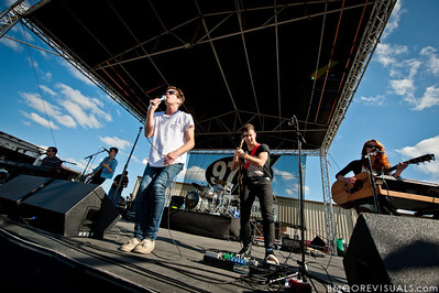 Andrew Dost, Nate Harold, Nate Ruess, Will Noon, Jack Antonoff, and Emily Moore of fun. perform on December 3, 2011 during 97X Next Big Thing at 1-800-ASK-GARY Amphitheatre in Tampa, Florida