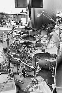 Floored Percussionist (b&w)