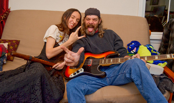 Bass Guitar Rockstars with Battle Axes