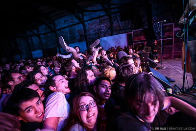 Crowd surfing during The King Khan & BBQ Show at The Goat Farm Art Center in Atlanta, Georgia on Saturday, Oct. 4, 2014