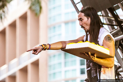 Steve Aoki looking for his next cakeface. Ultra Music Fest 2013