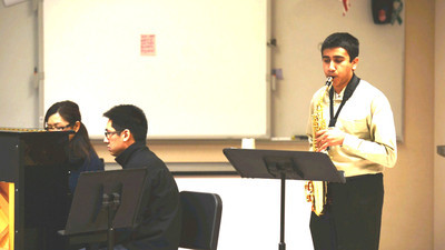 Bellevue School of Music student Adithya Mukund performing Concerto by Alexander Glazounov
