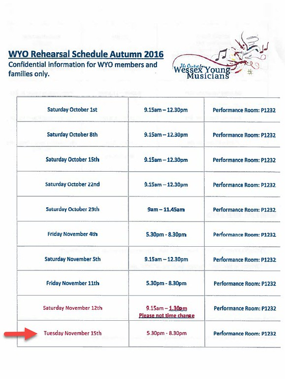 WYO Rehearsal Schedule Autumn 2016 Page 1 (Annotated by me)