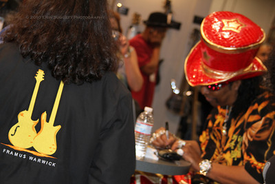 Legendary bassist Bootsy Collins signs autographs at the Warwick booth.  The NAMM Music Trade Show 2010: National Association of Music Merchants Anaheim Convention Center. Anaheim, CA January 16, 2010