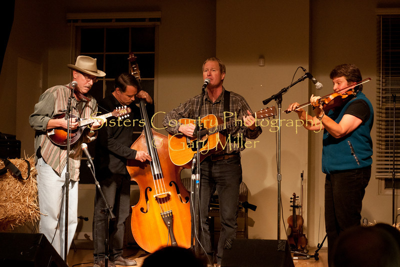 The Pitchtones with new addition fiddle player Jo Booser on stage at the Hoedown for Hunger benefit concert for the homeless in Bend, OR. November 2009. Gary Miller - Sisters Country Photography