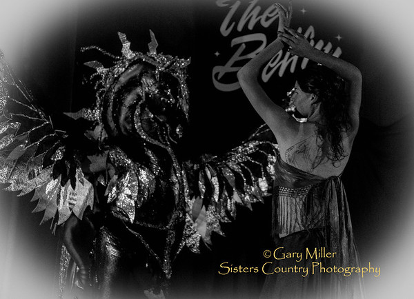Stephanie Crowe with Puppeteer Shirley McBride modeling for the attending artists - Photographed at the first 'Salon D'Art' at the Belfry in Sisters, Oregon on May 9, 2013 - Copyright © 2013 Gary N. Miller, Sisters Country Photography