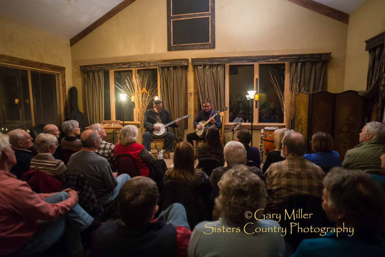 Banjo masters Alan Munde and Bill Evans playing together at a Maggie Jackson House Concert in Bend, Oregon - January 22, 2015 © 2015 Gary N. Miller, Sisters Country Photography