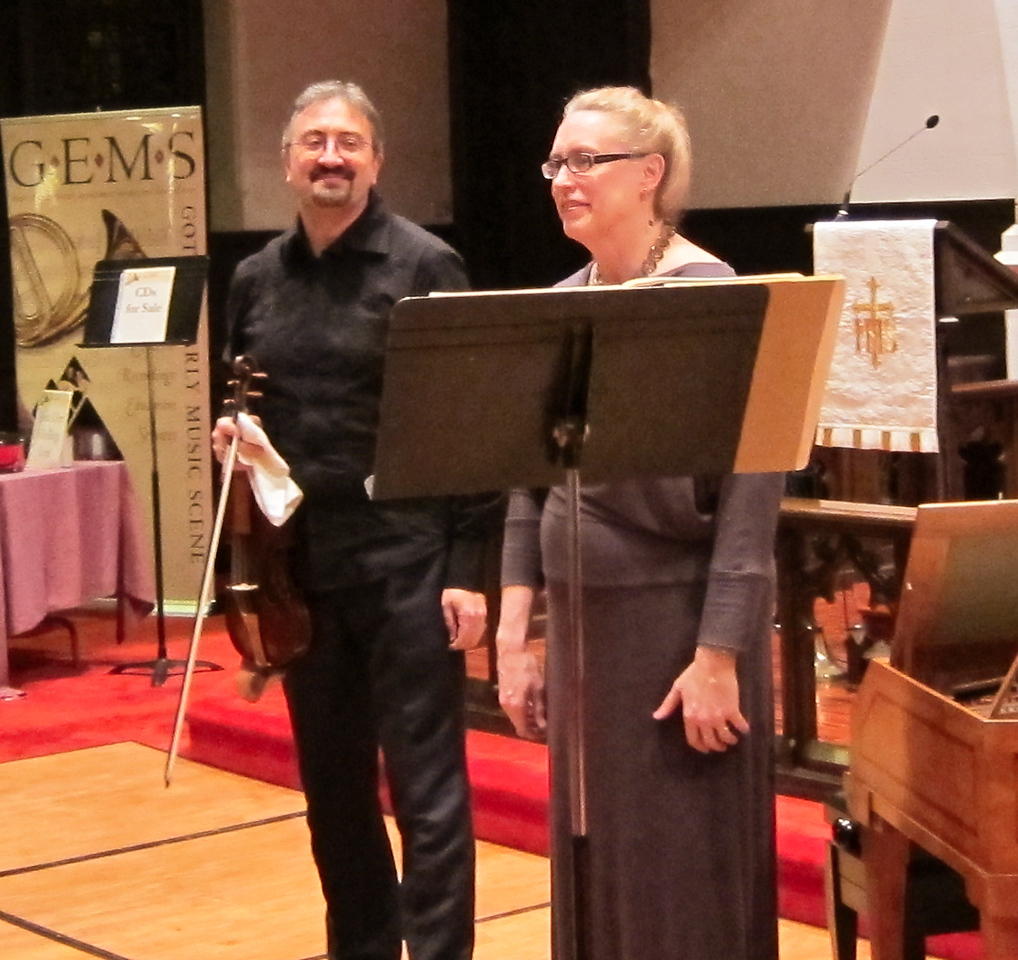 """Laura Heimes, soprano; Enrico Gatti, violin; and Gwendolyn Toth, fortepiano, in music of Haydn and Mozart, performed at ARTEK's April 29, 2012, """"Art of the Keyboard"""" concert, Immanuel Lutheran Church in Manhattan."""