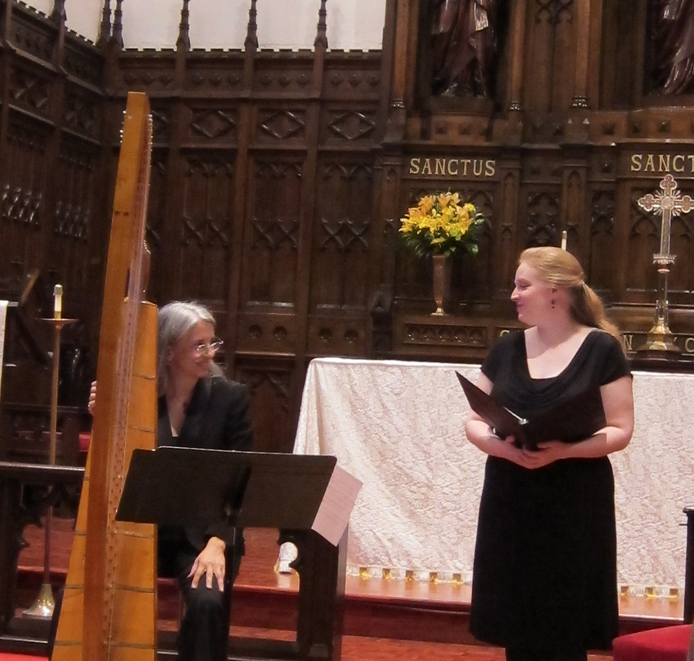 """Elizabeth Baber, soprano, and Christa Patton, baroque harp, performed """"...even Night herself is here"""" at the Midtown Concert Series on May 16, 2012, at Immanuel Lutheran Church in Manhattan."""