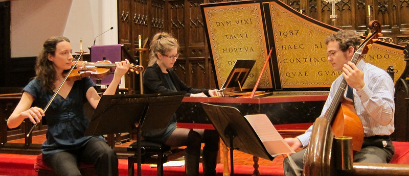 """The Waits Trio performed """"Music by Marin Marais and Antoine Forqueray"""" at the March 28, 2012, Midtown Concert series in Manhattan. Trio members are Liv Heym, baroque violin; James Waldo, viola da gamba and cello; and Erin Hanke, harpsichord."""