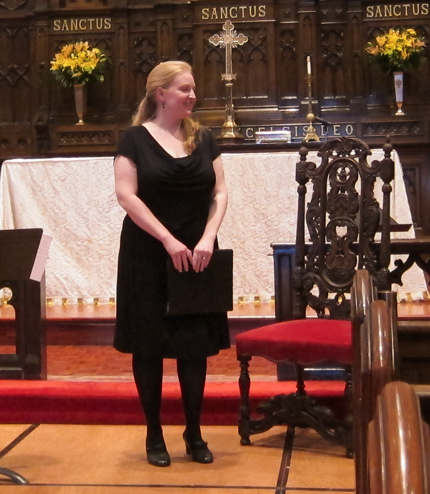 "Elizabeth Baber, soprano, and Christa Patton, baroque harp, performed ""...even Night herself is here"" at the Midtown Concert Series on May 16, 2012, at Immanuel Lutheran Church in Manhattan."