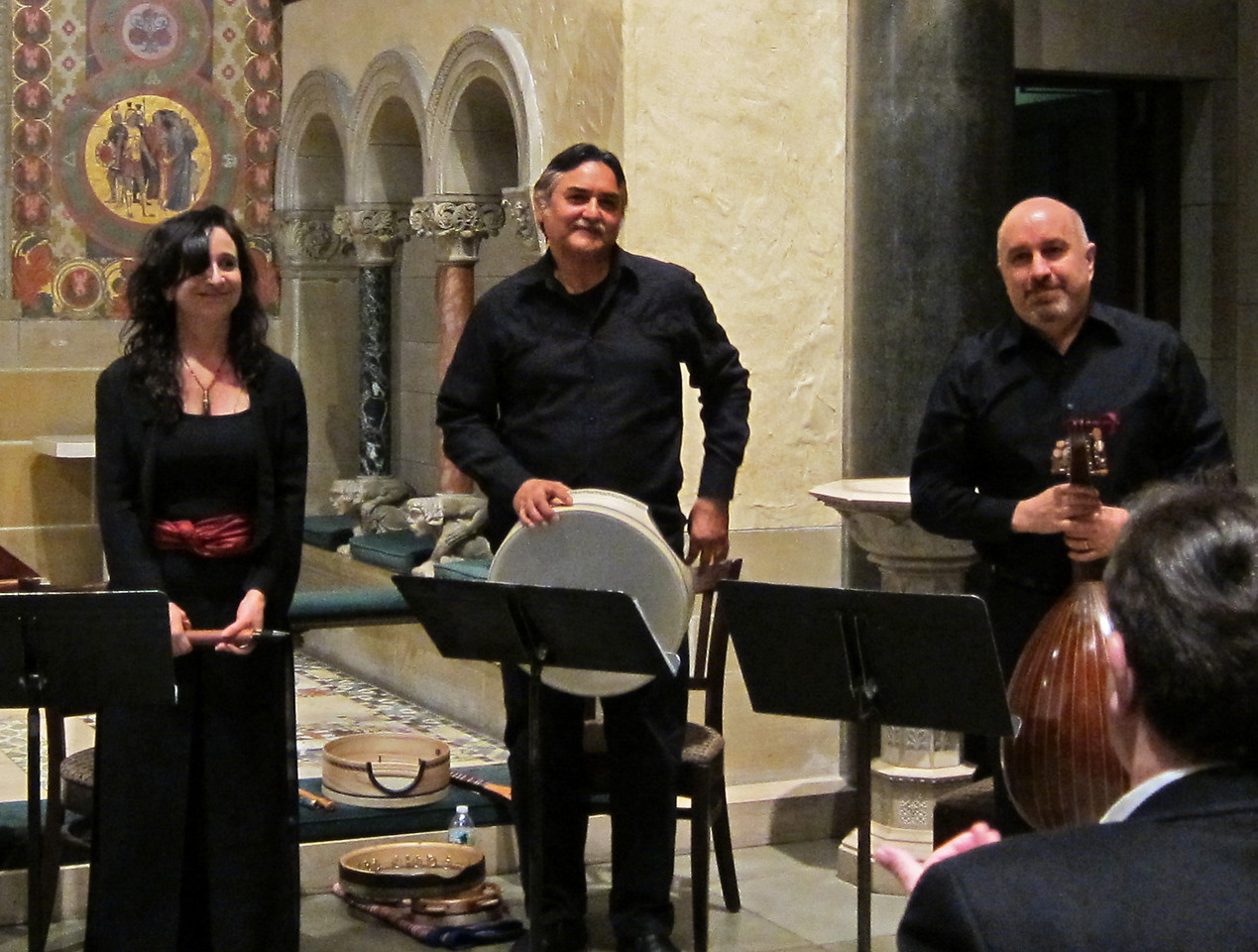 Rose of the Compass musicians Nina Stern, recorders; Glen Velez, percussion; Ara Dinkjian, oud, joined Salon/Sanctuary artists Jessica Gould, soprano; Daniel Swenberg, theorbo; Bradley Brookshire, harpsichord, before a sold-out audience in the chapel of St Bart's in Manhattan at a Salon/Sanctuary concert on January 29, 2012. The afternoon's program comprised music of Venice from the 17th century, along with traditional and medieval music from Armenia, Bulgaria, Cyprus, Macedonia, and Turkey.