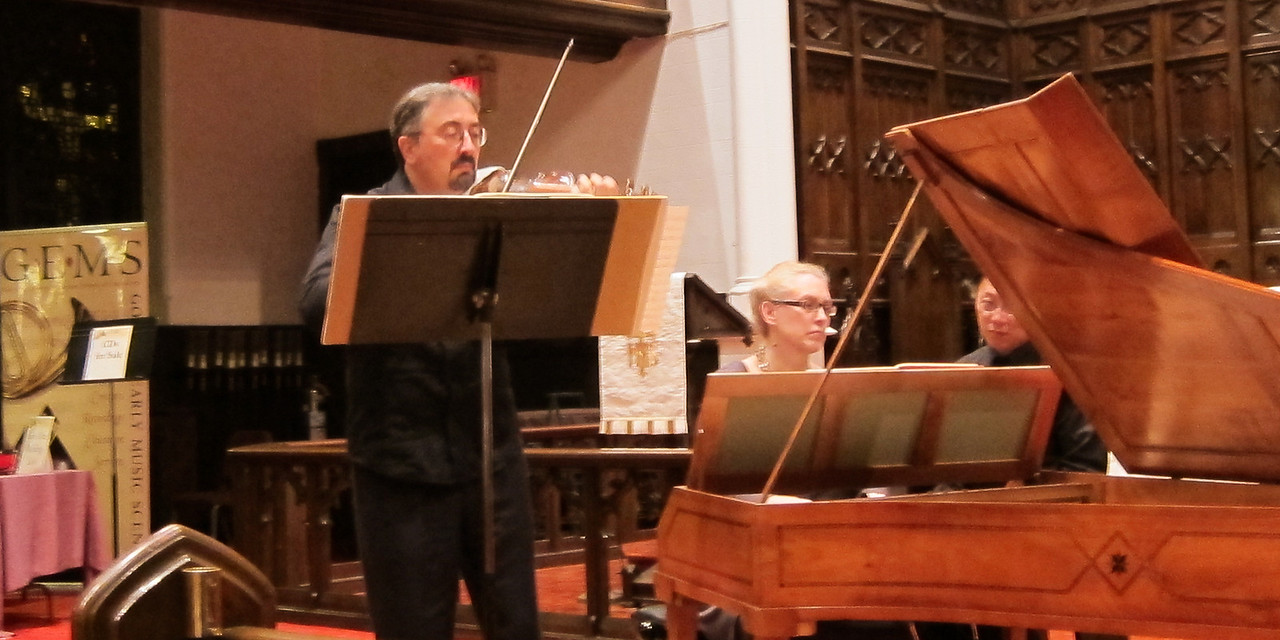 "Laura Heimes, soprano; Enrico Gatti, violin; and Gwendolyn Toth, fortepiano, in music of Haydn and Mozart, performed at ARTEK's April 29, 2012, ""Art of the Keyboard"" concert, Immanuel Lutheran Church in Manhattan."