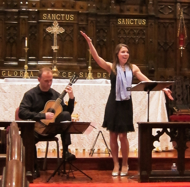 Philmore Ensemble's whimsical presentation of 19th-century guitar leider at the Midtown Concert series on April 18, 2012, featuring Julia Madden, soprano, and Duane Large, guitar.