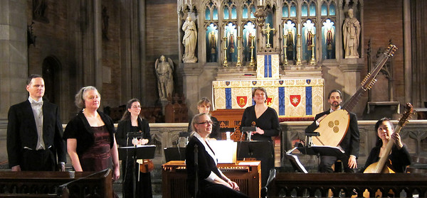 ARTEK presented Solo Cantatas and Instrumental Music by Johnn Rosenmuller on Feb 10, 2012, at St Ignatius of Antioch in Manhattan. Seen here are Ryland Angel, Barbara Hollinshead, Vita Wallace, Gwen Toth, Teresa Salomon, Marka Young, Daniel Swenberg, and Motomi Igarashi.