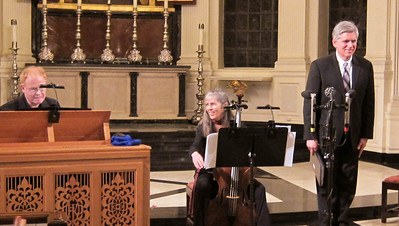 "Two members of the Sinfonia Players (John Scott and Christine Gummere) joined baritone Nathaniel Watson in a presentation of ""A Bach Winterreise"" at Corpus Christi church in Manhattan, February 3, 2012."
