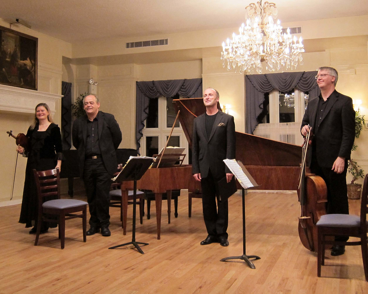"""On March 23, 2012, Rufus Muller, tenor, joined Cynthia Roberts, violin; Allen Whear, cello; and Christoph Hammer, fortepiano, in a splendid evening of vocal and instrumental music by Haydn, Beethoven, Norbert Burgmuller (1810-1836), and Franz Xaver Kleinheinz (1765-1832) in a program titled """"The Classical Romantic.""""<br /> <br /> Part of the Salon-Sanctuary series, the performance was held in the sumptuous setting of the Liederkranz Concert Hall on Manhattan's upper east side. As a delightful encore, Rufus Muller sang Sally in Our Alley, with words by the poet Henry Carey (1693-1743)."""