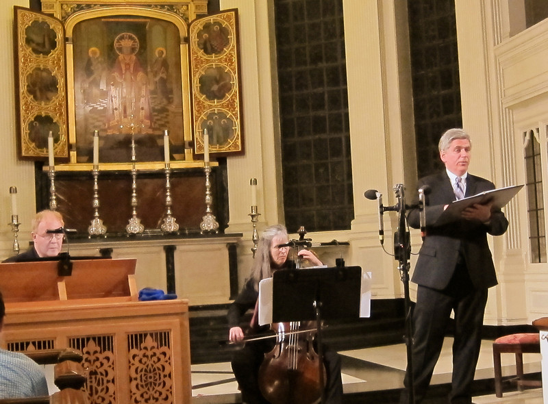 """Two members of the Sinfonia Players (John Scott and Christine Gummere) joined baritone Nathaniel Watson in a presentation of """"A Bach Winterreise"""" at Corpus Christi church in Manhattan, February 3, 2012."""