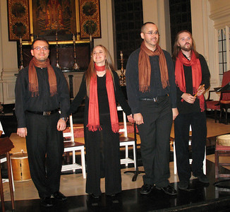 Ensemble Alkemia's members Danny Wiseman, Dorothea Ventura, Pierre-Alexandre Saint-Yves, and Jean-Francois Daignault.