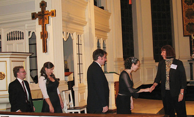 Members of Plaine & Easie accepting congratulations from Early Music America's Executive Director Maria Coldwell.