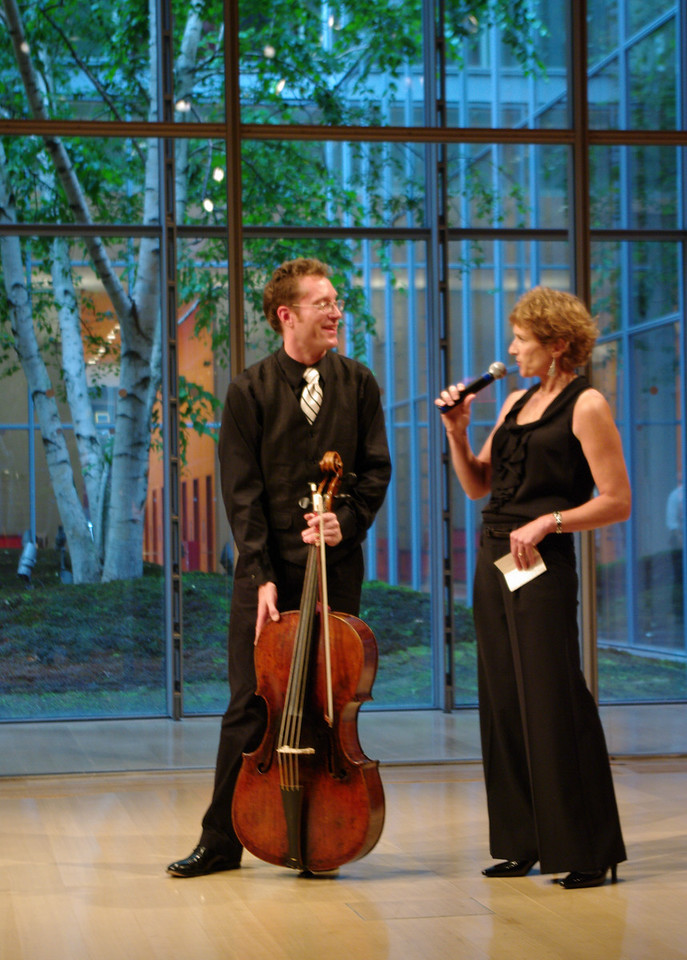 The Dodd String Quartet's James Wilson with Suzanne Bona of Sunday Baroque.