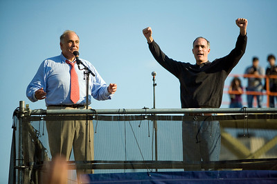 PA Gov. Rendell and Sen. Casey with Bruce Springsteen, Philly - Rock the Vote, 2008 (Panetta)
