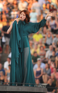 Florence Welch and her group Florence and the Machine at Vanderbilt Stadium in Nashville Saturday, July 2, 2011. By David Bundy