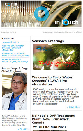 Corix Water Systems eNewsletter, where I was responsible for content writing, editing, proofing, layout and distribution.