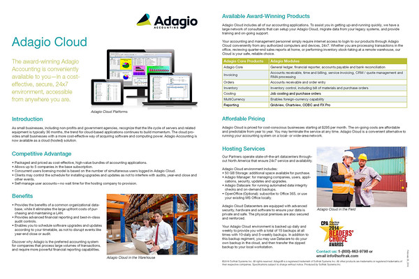 Adagio Cloud factsheet research, writing, editing and layout design for Softrak Systems.
