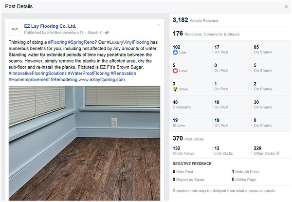 EZ Lay Flooring, Facebook