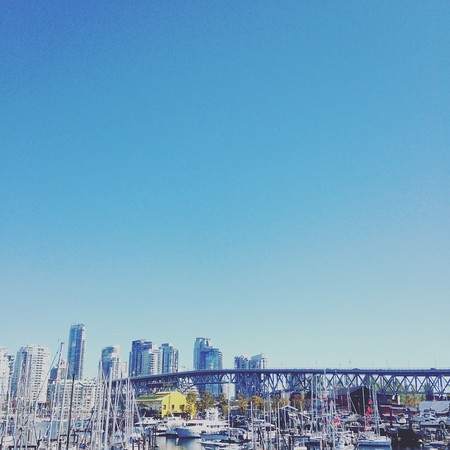 overlooking Granville Island and downtown Vancouver, BC