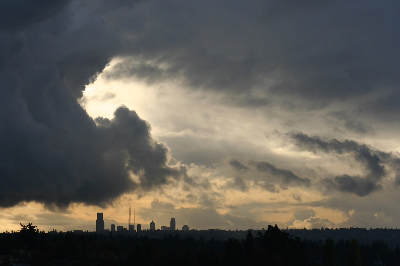 One of several cloudscapes at sunset over Seattle.
