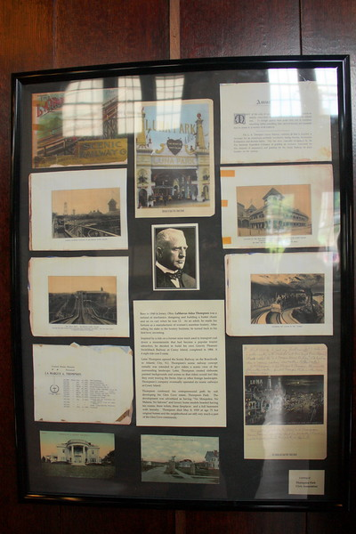 North Shore Historical Museum, Glen Street, Glen Cove, 26 May 2018; Display featuring LaMarcus Adna Thompson, the L.A. Thompson Scenic Railway and Sae Cliff's Thompson Park