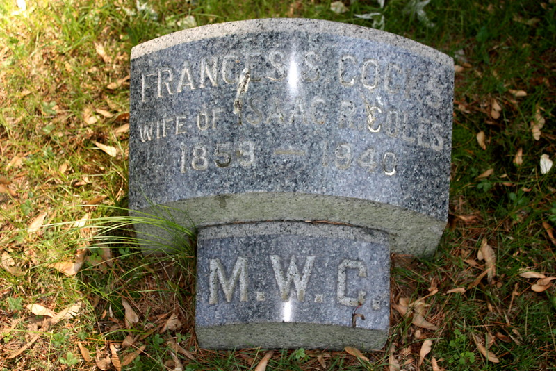 Frances S Coles (1859-1948); the 'M.W.C. stone is the footstone of her mother-in-law, Mary Willets Coles.