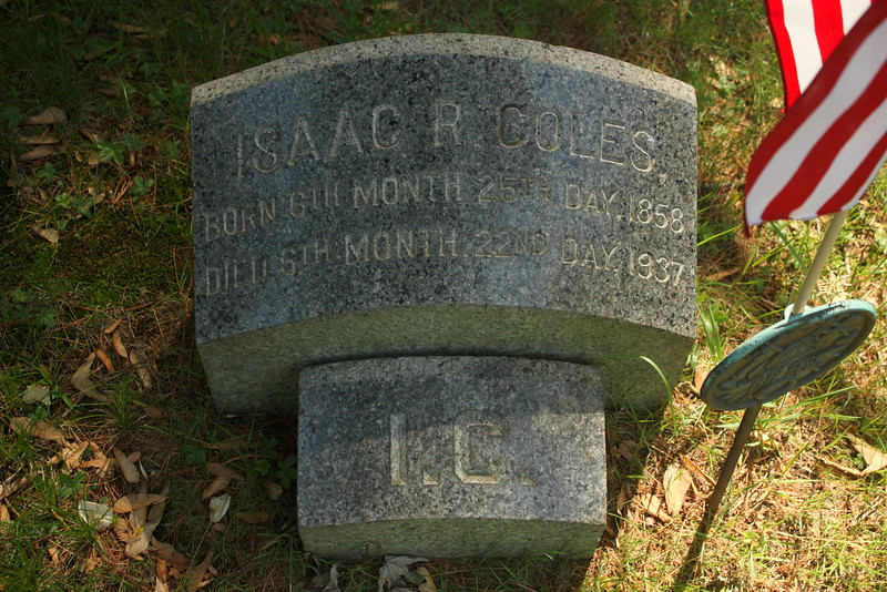 Great grand uncle Isaac R Coles (1858-1937); The 'I.C.' stone is the footstone of his father, Isaac Coles.