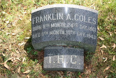 Franklin A Coles (1861-1943); the 'T.H.C.' stone is the footstone of his older brother, Thomas H Coles.