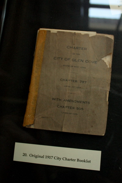 North Shore Historical Museum, Glen Street, Glen Cove, 26 May 2018; Glen Cove city charter, 1917, to which Franklin A Coles contributed
