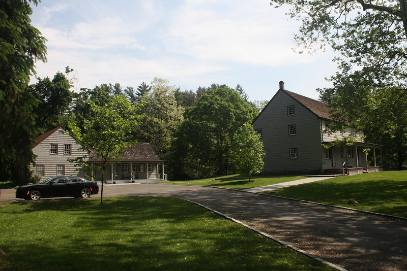 Matinecock Friends meeting house, Locust Valley, originally built in 1725; GCD's rented Dodge Charger is on the left.