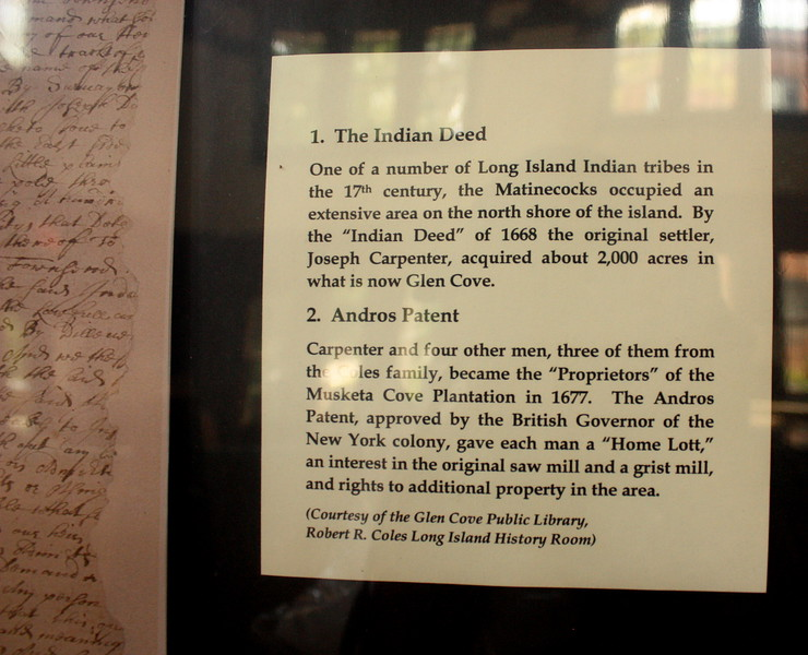 North Shore Historical Museum, Glen Street, Glen Cove, 26 May 2018; 1) The Indian Deed; 2) Andros Patent
