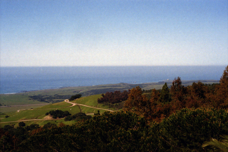 Looking down at Highway One and San Simeon from the Castle