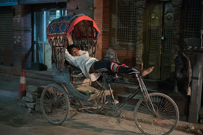Rickshaw Driver Having His Night Sleep