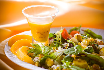 Mixed Baby Greens Salad with Peach, Mustard & Rum Vinaigrette